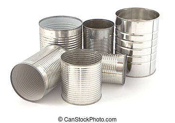 Tin cans - Empty tin cans ready for recycling isolated on...