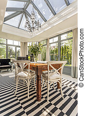 Elegant orangery with glass ceiling - Rustic elegant...