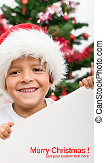Happy boy with christmas hat and blank sign - Happy boy...