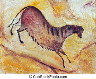 horse - Hand drawing - oil painting like cave painting la...