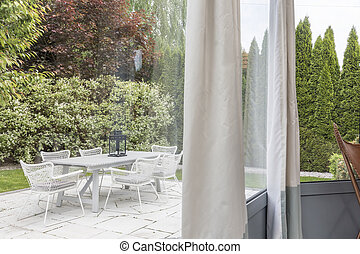 Garden terrace with furnitures - Beautiful terrace with...