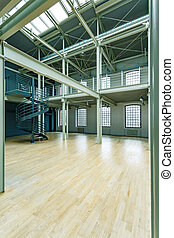 Enormous old warehouse revitalization in spacious workplace