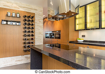 Glamourous kitchen with wooden cabinets