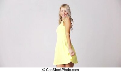 happy smiling beautiful young woman in dress - fashion,...