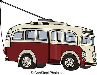 Vintage red trolleybus - Hand drawing of a vintage red and...
