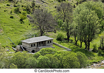 Watermill in Greece - Landscape with restored traditional...