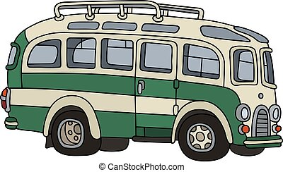 Classic green bus - Hand drawing of a retro green and white...
