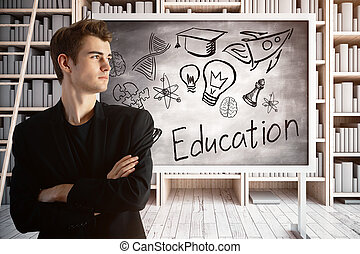 Businessman in library with education sketch - Young...