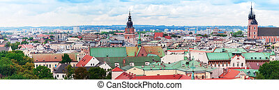 Panorama of Krakow and the Church of St. Mary - Aerial view...