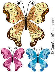 Set decorative isolated butterflies