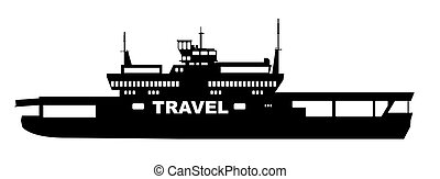Car Transporter Ferry Transport - Silhouette of a typical...
