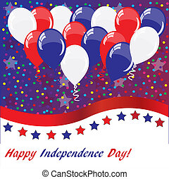 American holidays background with balloons (American flag...