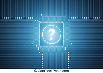 System board with question mark - Close up of abstract...