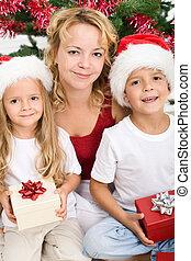 navidad, mujer, tiempo, niños