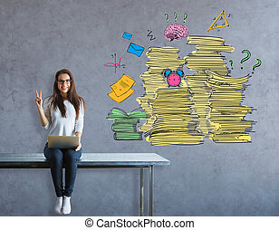 Paperwork concept - Cheerful young european girl sitting on...