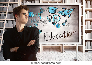Man in library with education sketch - Young european man...