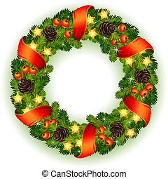 Christmas wreath - decorated christmas wreath