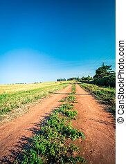 farm lane prince Edward island - Dirt lane in a field in...