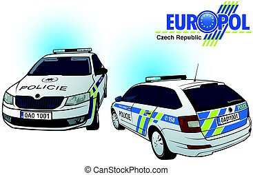Czech Police Car - Colored Illustration, Vector