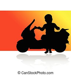 child and scooter vector