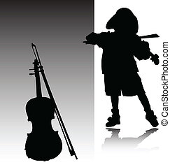 child play violin vector silhouettes