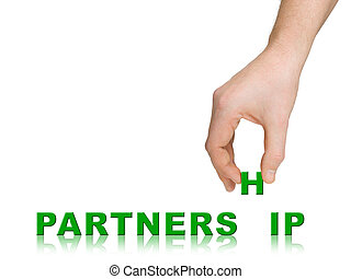 Hand and word Partnership, business concept, isolated on...
