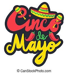 Cinco De Mayo Festival Label with chili and sombrero,...