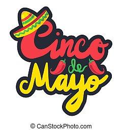 Cinco De Mayo Festival Sticker with chili and sombrero....