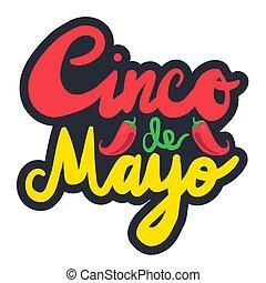 Cinco De Mayo Festival Sticker with chili. Festival Poster....