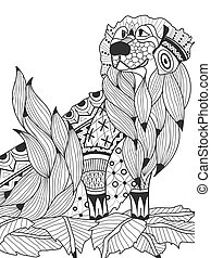 Labrador Retriever in the leaves coloring book for adults...