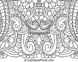 Pattern flower coloring vector for adults