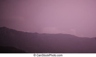 Lightning in the sky over the mountains in Montenegro.