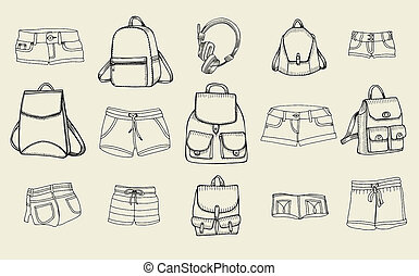 Backpacks and women jeans shorts - Hand drawn art Set of...