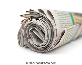 Newspapers - Roll of newspapers isolated on white background