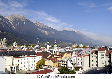 Innsbruck - Panorama shot over the city of Innsbruck in...