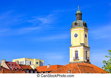 Town hall tower in Bialystok, Poland - Town hall tower over...