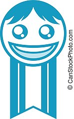 blue happy face medal - design of blue happy face medal