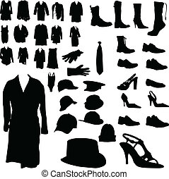 clothing and footwear and headgear vector silhouettes