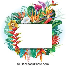 Banner against a background of tropical flowers