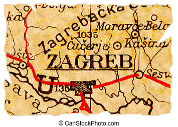 Zagreb old map - Zagreb, Croatia on an old torn map from...