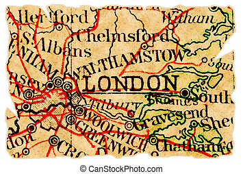 London old map - London, UK on an old torn map from 1949,...