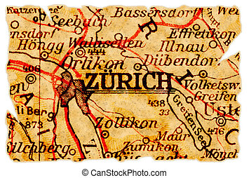 Zurich old map - Zurich, Switzerland on an old torn map from...
