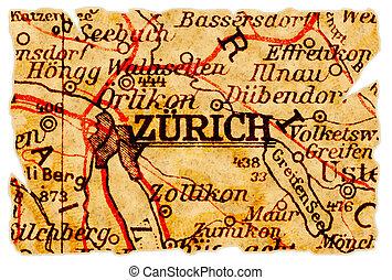 Zurich old map - Zurich, Switzerland on an old torn map from...