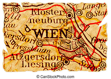 Vienna old map - Vienna or Wien, Austria on an old torn map...