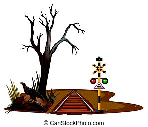 Train track through the desert illustration