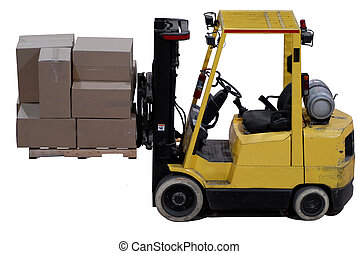 forklift with load of boxes - industrial forklift with a...