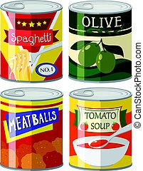 Four types of canned food in set illustration
