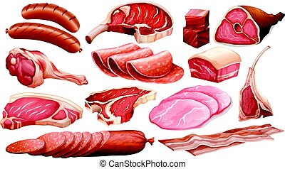 Different types of meat products illustration