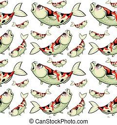 Seamless background with koi fish