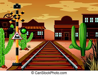 Scene with train track in western town illustration